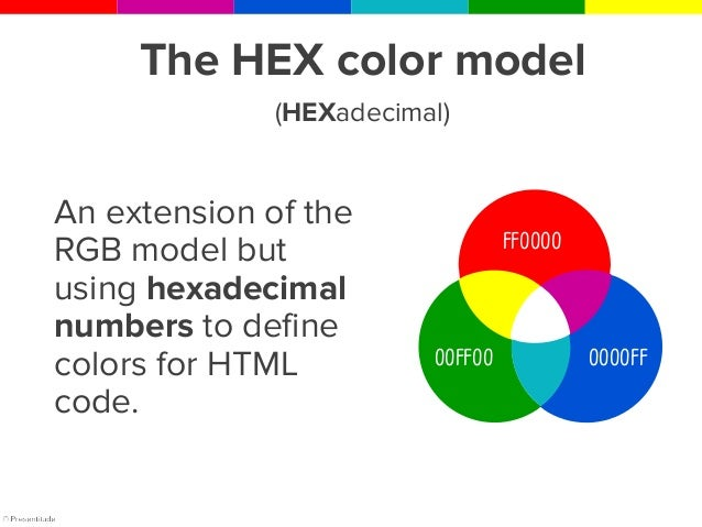 HEX is used specifically for online material and websites and use combinations of the primary colors similar to RGB.