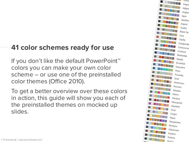 41 colorful mockups  Each page displays a color  wheel with the accent colors  around the dark and light  background/text ...