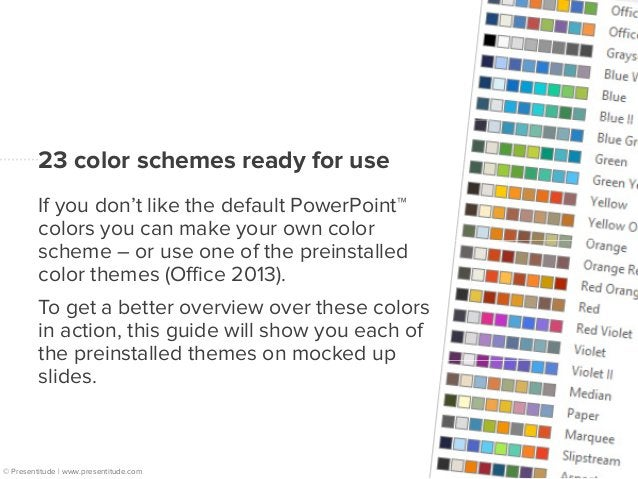 23 colorful mockups  Each page displays a color  wheel with the accent colors  around the dark and light  background/text ...