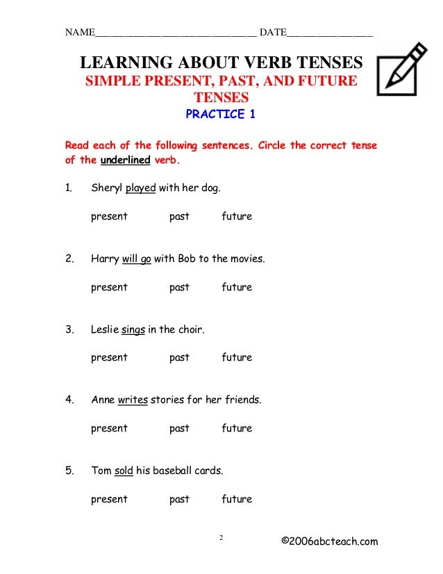 name date learning about verb tenses simple present past and