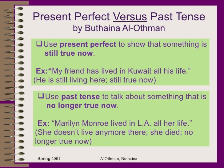 Present Perfect  Versus  Past Tense by Buthaina Al-Othman <ul><ul><li>Use  present perfect  to show that something is  </l...