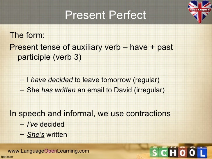 Perfect Tense Videos - Learn American English Online