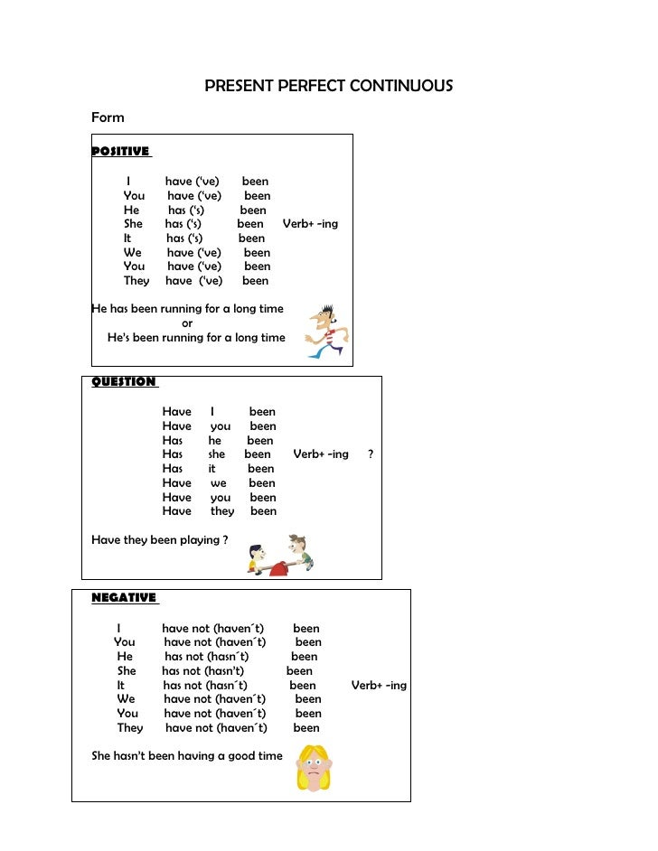 PRESENT PERFECT CONTINUOUS Form  POSITIVE        I      have ('ve)     been      You     have ('ve)     been      He      ...