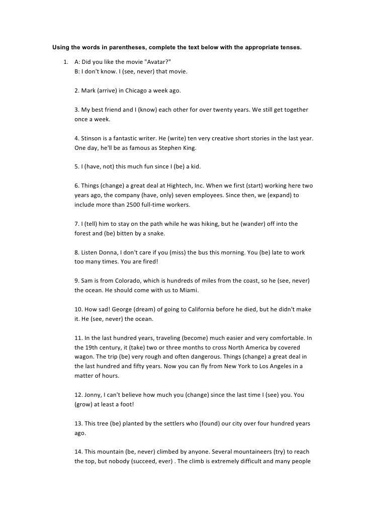 present perfect text exercises pdf