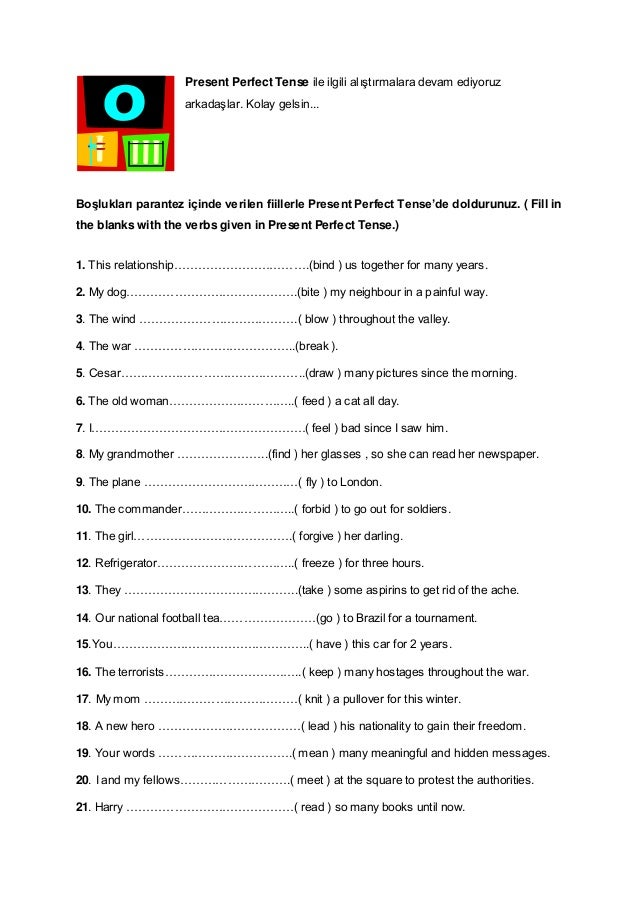 Present Perfect Tense Exercises 2 on 6 Simple Present Exercises