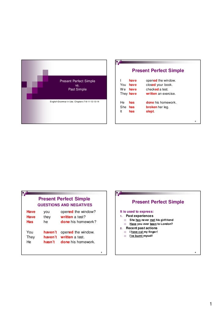 Present Perfect Simple                     Present Perfect Simple                        I        have        opened the w...
