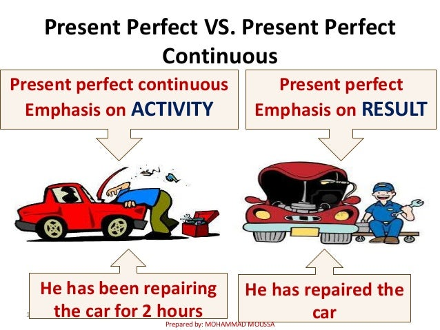Present Perfect VS. Present Perfect Continuous 1 He has been repairing the car for 2 hours He has repaired the car Present...