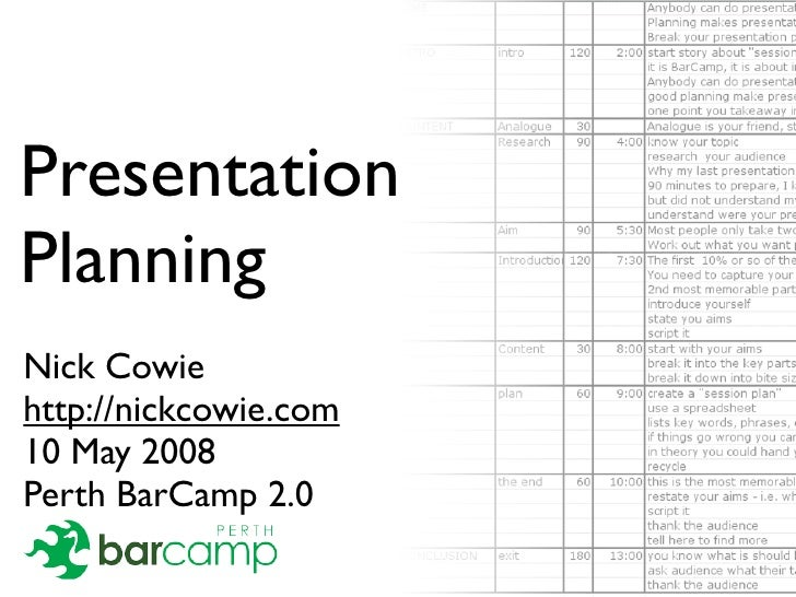 Presentation Planning Nick Cowie http://nickcowie.com 10 May 2008 Perth BarCamp 2.0