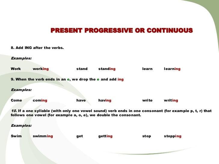 Present Progressive Or Continuous