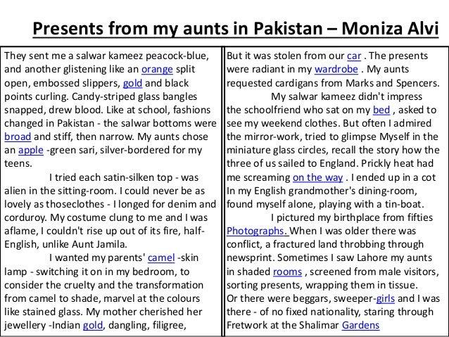 moniza alvi presents from my aunts in pakistan essay Poems analysed from moniza alvi presents from my aunts in pakistan by moniza alvi moniza alvi.