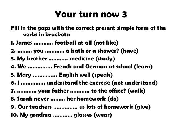 Completar Textbook Fill In The Blanks With The Correct Present Tense
