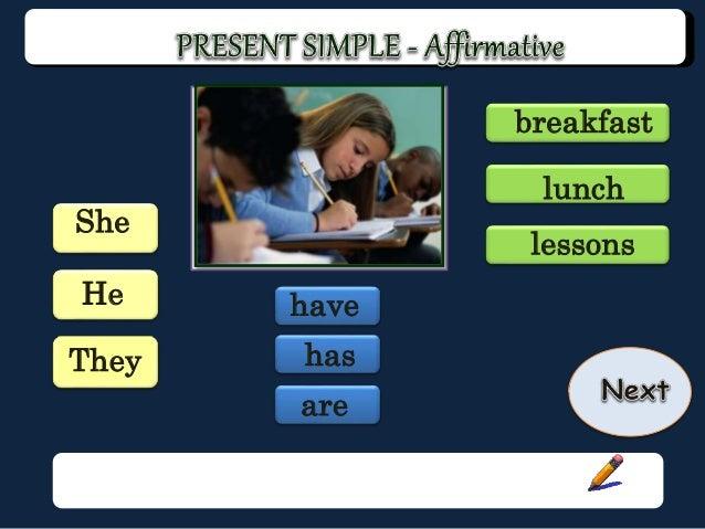 Present simple game: affirmative and negative Slide 2