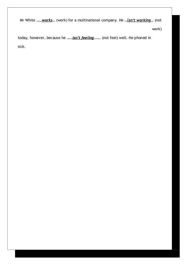 present simple vs present continuous exercises pdf