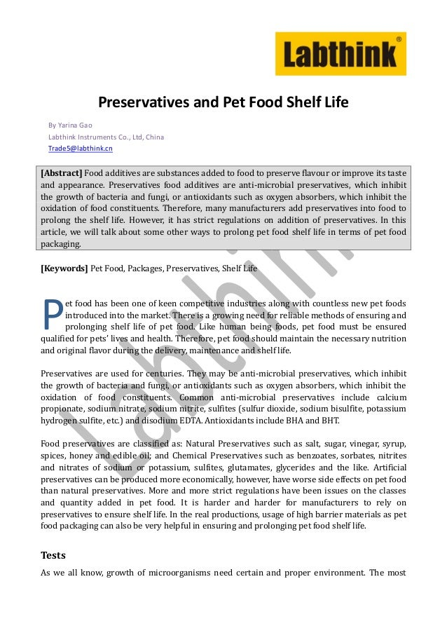 Preservatives and Pet Food Shelf Life  By Yarina Gao  Labthink Instruments Co., Ltd, China  Trade5@labthink.cn[Abstract] F...