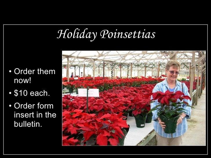 Holiday Poinsettias <ul><li>Order them now! </li></ul><ul><li>$10 each. </li></ul><ul><li>Order form insert in the bulleti...