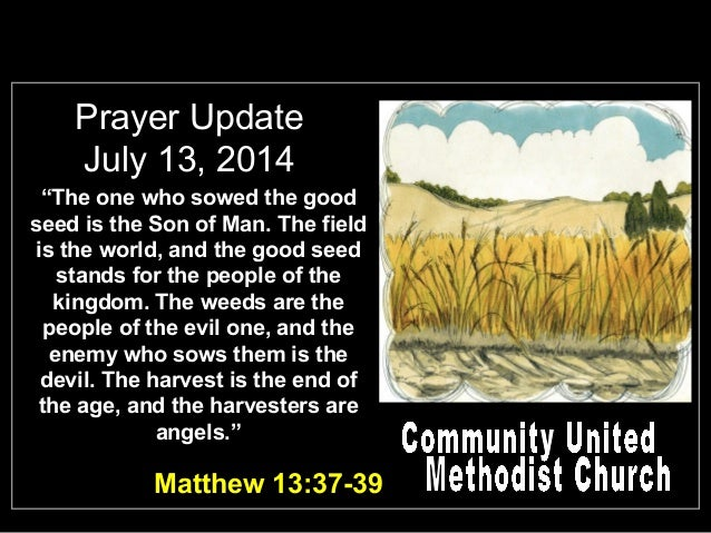 """Prayer Update July 13, 2014 """"The one who sowed the good seed is the Son of Man. The field is the world, and the good seed ..."""