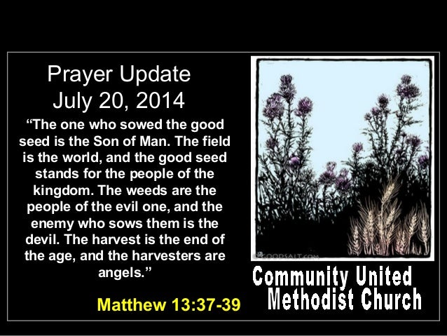 "Prayer Update July 20, 2014 ""The one who sowed the good seed is the Son of Man. The field is the world, and the good seed ..."