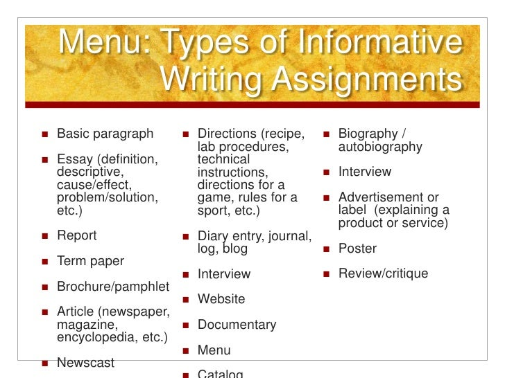 Types of expository essay