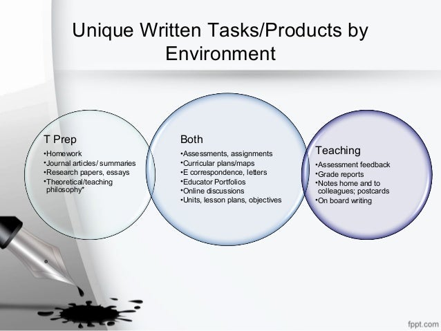 Unique Written Tasks/Products by Environment T Prep •Homework •Journal articles/ summaries •Research papers, essays •Theor...