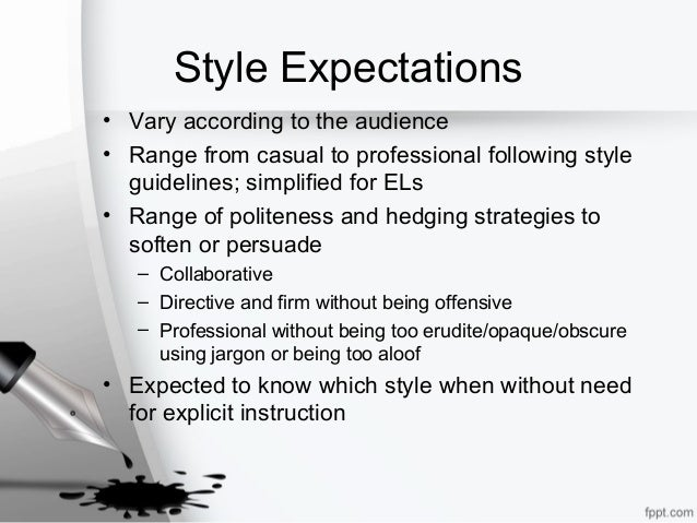 Style Expectations • Vary according to the audience • Range from casual to professional following style guidelines; simpli...