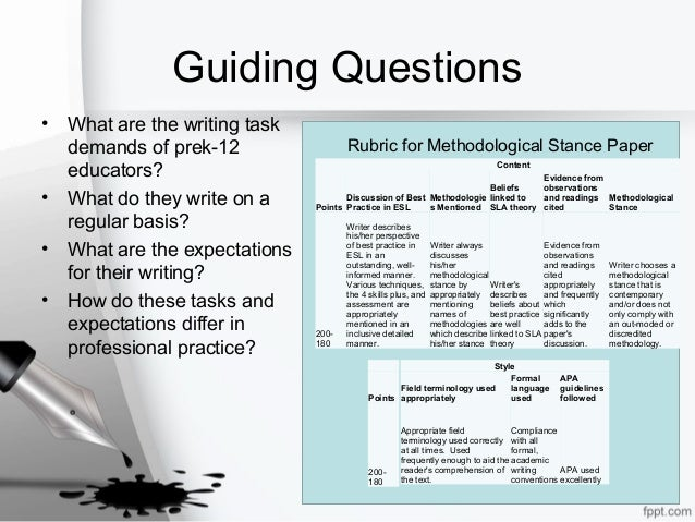 Guiding Questions • What are the writing task demands of prek-12 educators? • What do they write on a regular basis? • Wha...