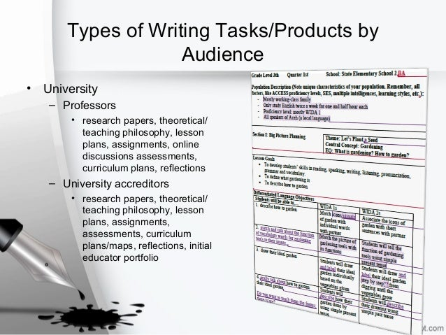 Types of Writing Tasks/Products by Audience • University – Professors • research papers, theoretical/ teaching philosophy,...