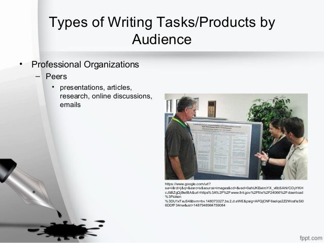 Types of Writing Tasks/Products by Audience • Professional Organizations – Peers • presentations, articles, research, onli...