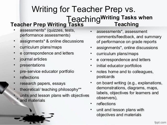 Writing for Teacher Prep vs. Teaching Teacher Prep Writing Tasks • assessments* (quizzes, tests, performance assessments) ...