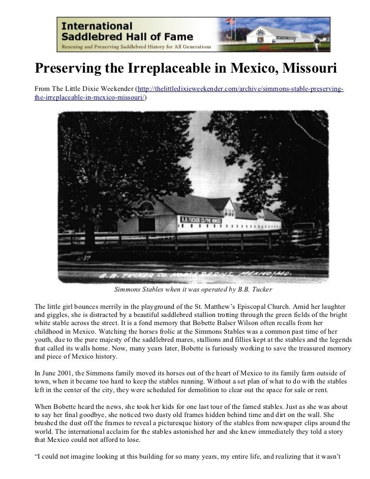 Preserving the Irreplaceable in Mexico, MissouriFrom The Little Dixie Weekender (http://thelittledixieweekender.com/archiv...