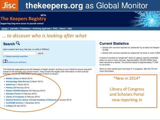 … to discover who is looking after what thekeepers.org as Global Monitor *New in 2014* Library of Congress and Scholars Po...