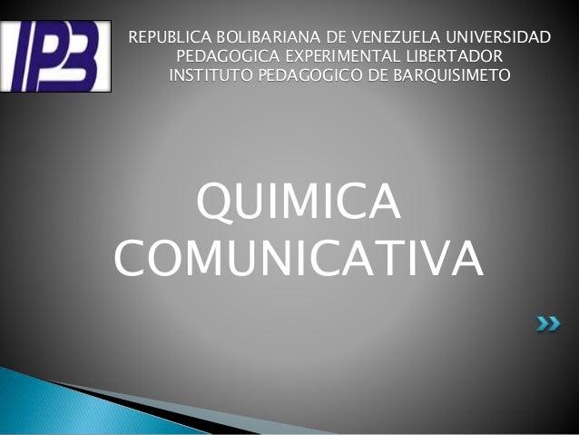 REPUBLICA BOLIBARIANA DE VENEZUELA UNIVERSIDAD  PEDAGOGICA EXPERIMENTAL LIBERTADOR  INSTITUTO PEDAGOGICO DE BARQUISIMETO  ...