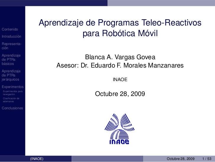 Aprendizaje de Programas Teleo-ReactivosContenido          ´Introduccion                                ´     ´           ...