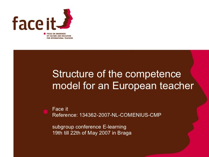 Structure of the competence model for an European teacher  Face it  Reference: 134362-2007-NL-COMENIUS-CMP subgroup confer...
