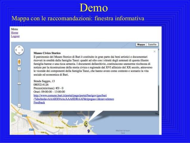 DemoMappa con le raccomandazioni: finestra informativa