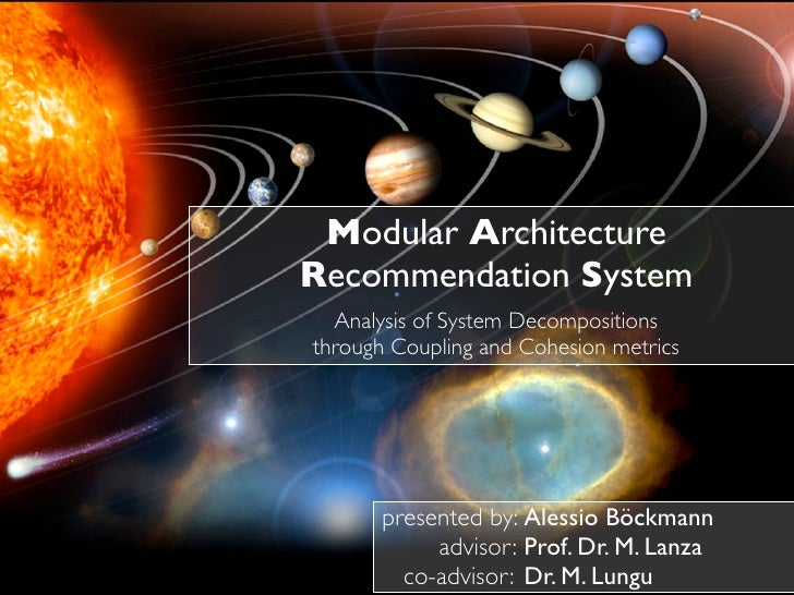 Modular Architecture Recommendation System   Analysis of System Decompositions through Coupling and Cohesion metrics      ...