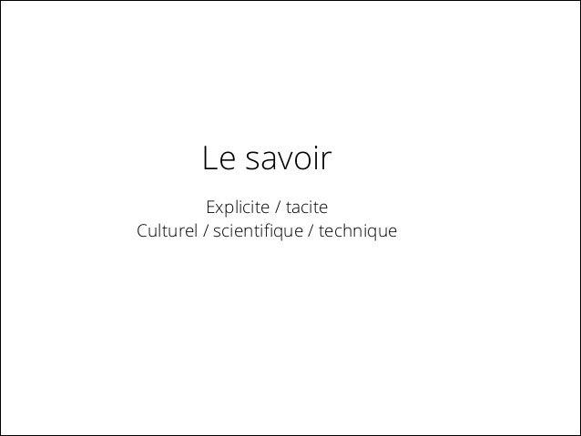 Le savoir Explicite / tacite Culturel / scientifique / technique