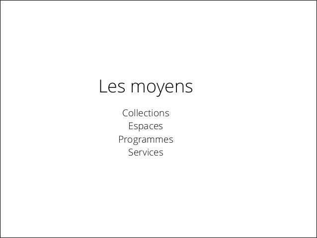 Les moyens Collections Espaces Programmes Services