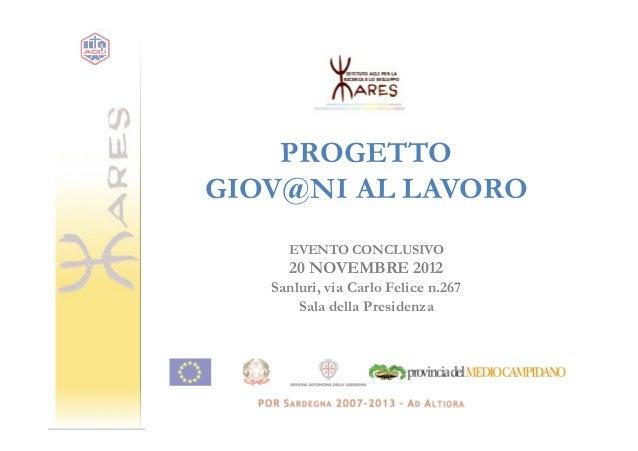 PROGETTOGIOV@NI AL LAVORO     EVENTO CONCLUSIVO     20 NOVEMBRE 2012   Sanluri, via Carlo Felice n.267       Sala della Pr...