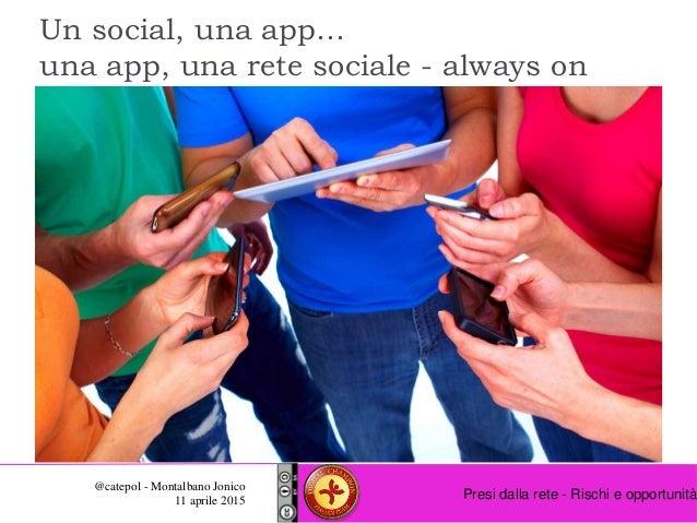 Presi dalla rete - Rischi e opportunità @catepol - Montalbano Jonico 11 aprile 2015 Un social, una app… una app, una rete ...