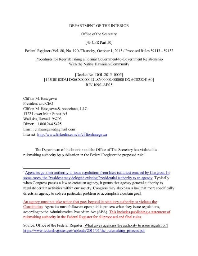 DEPARTMENT OF THE INTERIOR Office Of The Secretary [43 CFR Part 50] Federal  Register ...