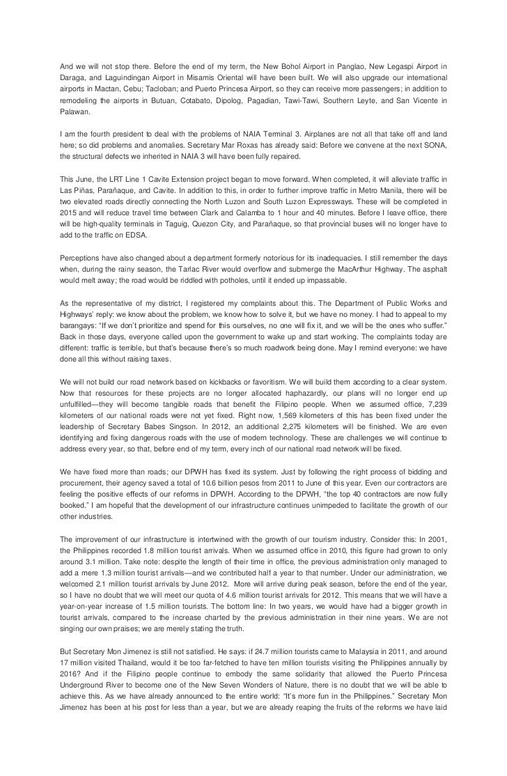 sona sample essay Summary of the sona 2k14 essay sample president benigno aquino's sona 2014 was all about what his administration has done for the past two years in serving the filipino citizens.
