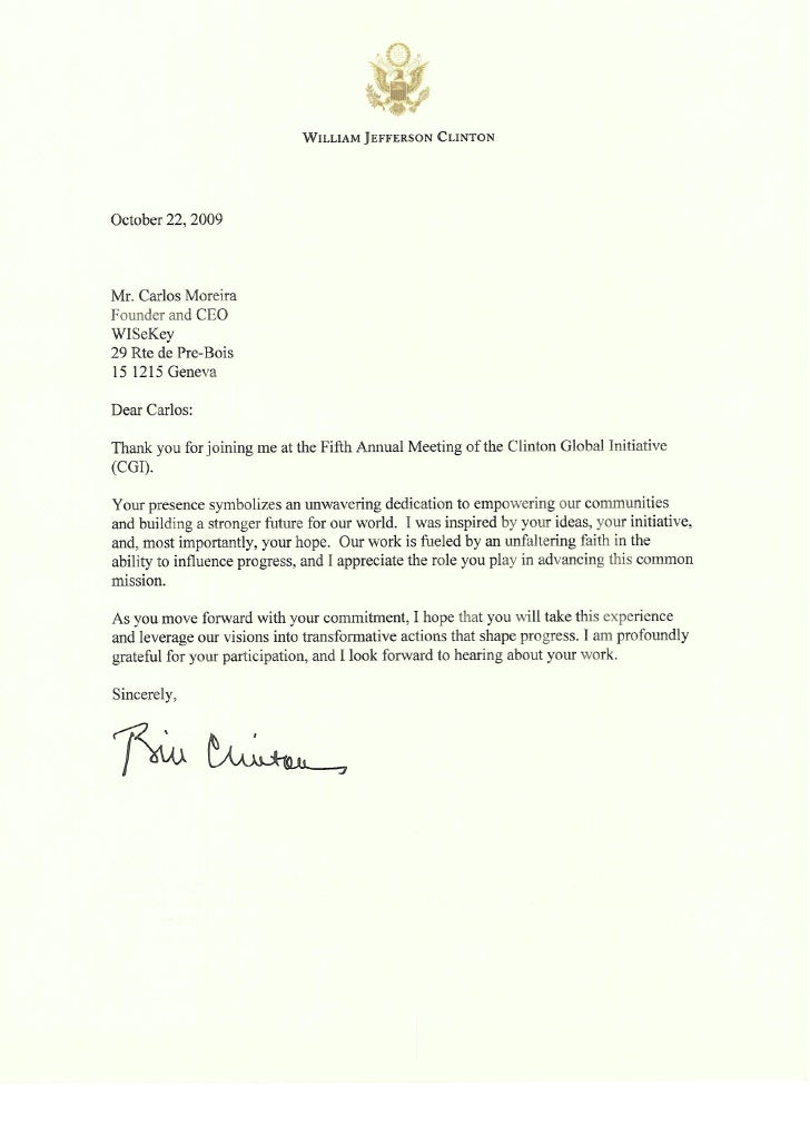 President clinton letter to WISekey