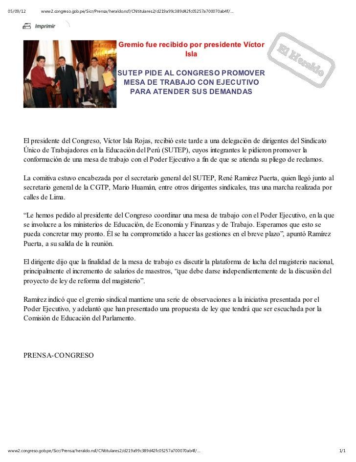 05/09/12       www2.congreso.gob.pe/Sicr/Prensa/heraldo.nsf/CNtitulares2/d219a99c389d42fc05257a700070ab4f/…               ...
