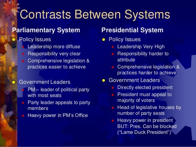 a comparison of presidential and parliamentary governments Presidential system vs parliamentary form of government in india and compare and contrast that in a presidential system, the president is directly.