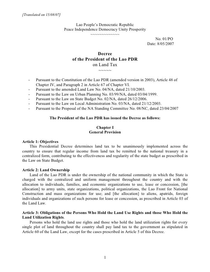 Presidential Decree 01 on Land Tax ENG