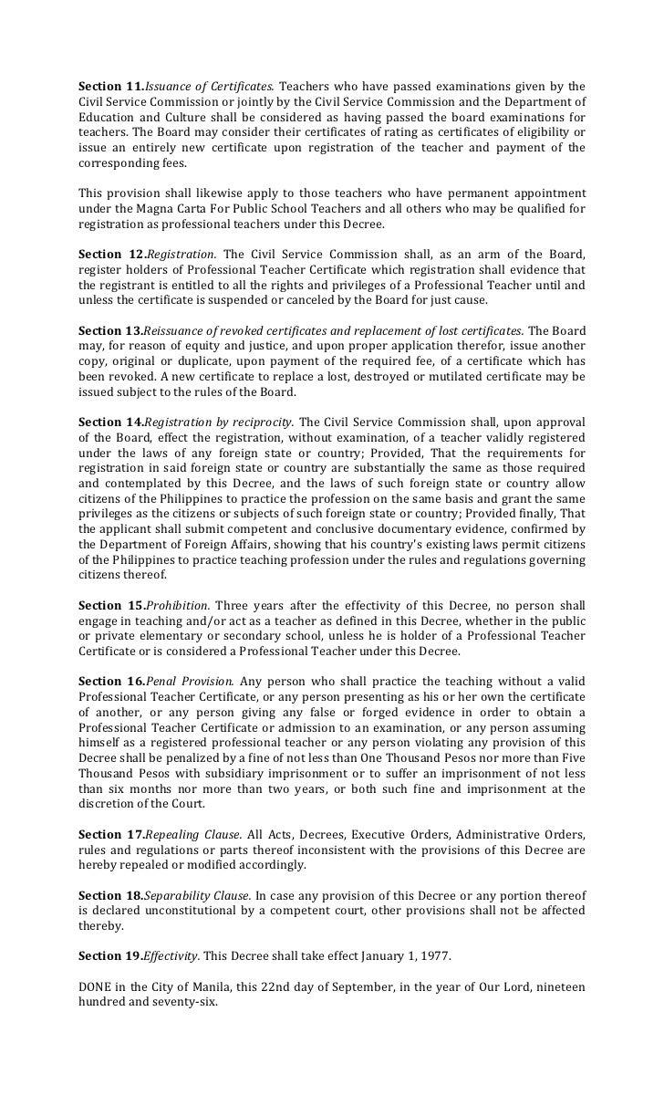 presidential decree no professionalization of teachers 4