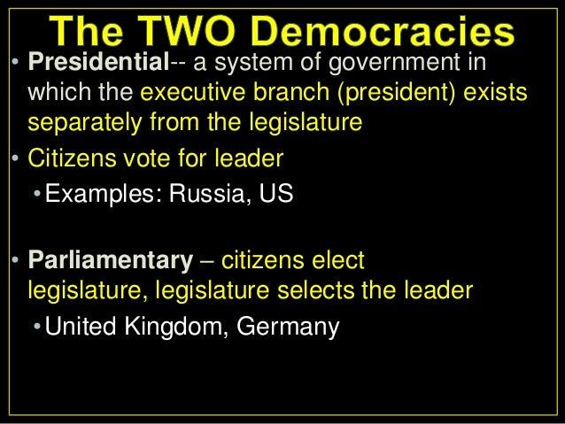 parliamentary system vs presidential system
