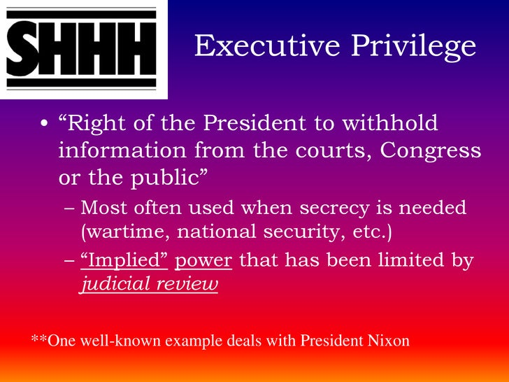 understanding executive privilege Executive privilege, legal times, oct 14, 1996, at 25 charles tiefer, contempt   before beginning the recounting, it may help to understand the points being.