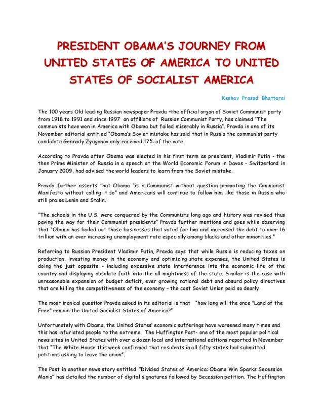 PRESIDENT OBAMA'S JOURNEY FROM  UNITED STATES OF AMERICA TO UNITED            STATES OF SOCIALIST AMERICA                 ...