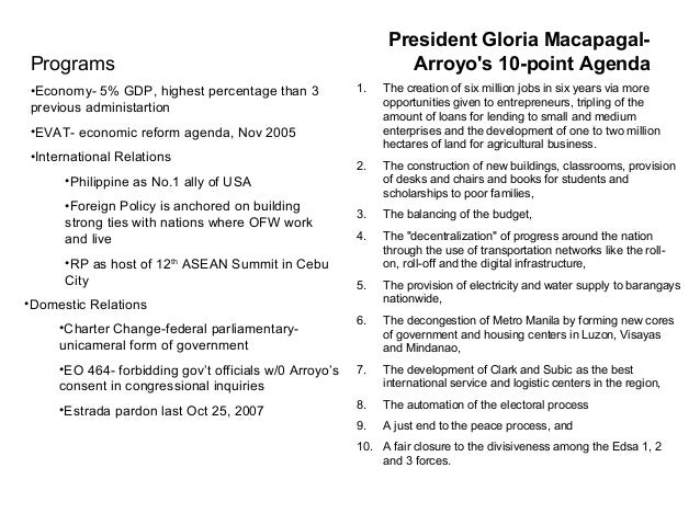 philippine economy under arroyo administration President gloria macapagal-arroyo has dominated philippine politics this  in  opinion surveys) with the administration's remarkable staying power and  in the  philippines and prevailing poverty, despite sustained gdp growth  and rule of  law (under the consistent leadership of three successive chief.